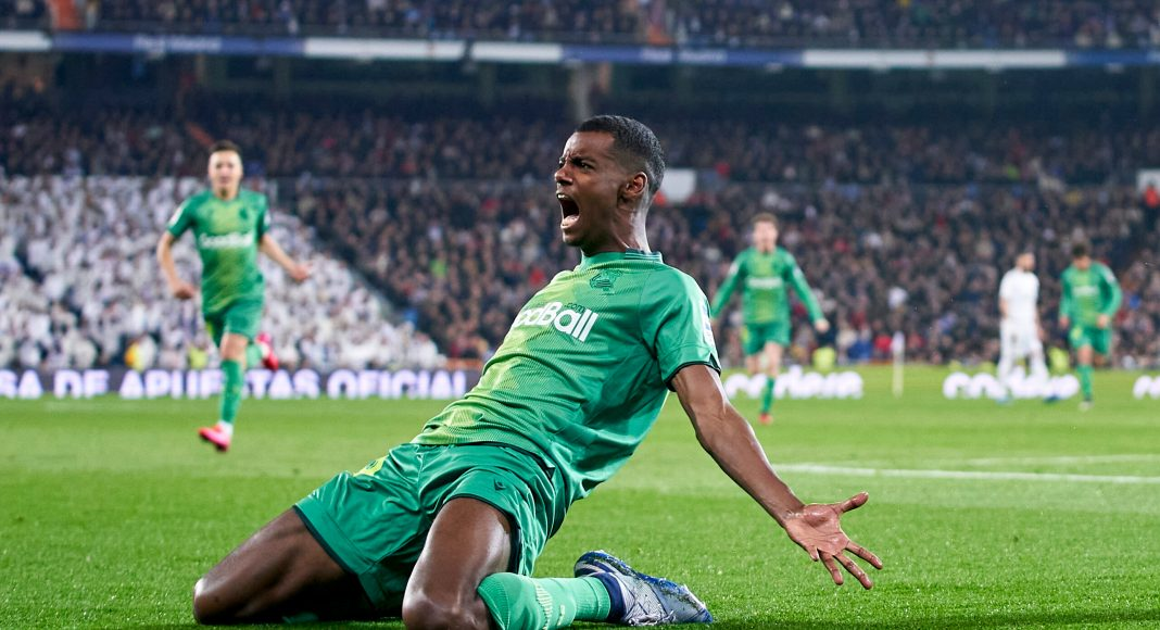 MADRID, SPAIN - FEBRUARY 06: Alexander Isak of Real Sociedad celebrates after scoring his team's second goal during the Copa del Rey Quarter Final match between Real Madrid CF and Real Sociedad at Estadio Santiago Bernabeu on February 06, 2020 in Madrid, Spain.