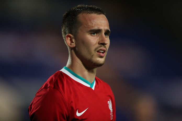 BIRKENHEAD, ENGLAND - SEPTEMBER 29: Liam Millar of Liverpool U21 during the EFL Trophy Northern Group D fixture between Tranmere Rovers and Liverpool U21 at Prenton Park on September 29, 2020 in Birkenhead, England.