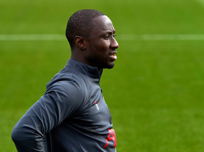 KIRKBY, ENGLAND - MARCH 09: (THE SUN OUT, THE SUN ON SUNDAY OUT) Naby Keita of Liverpool during a training session at AXA Training Centre on March 9, 2021 in Kirkby, England.