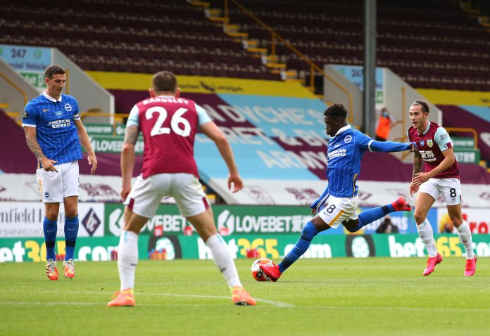 BURNLEY, ENGLAND - JULY 26: Yves Bissouma of Brighton and Hove Albion scores the opening goal during the Premier League match between Burnley FC and Brighton & Hove Albion at Turf Moor on July 26, 2020 in Burnley, England.
