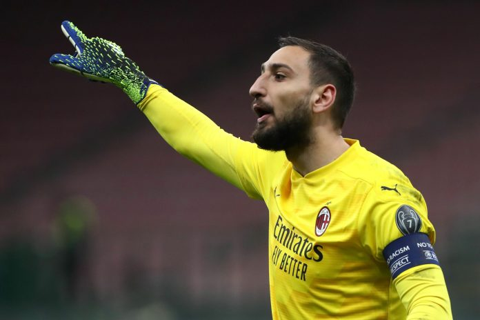 MILAN, ITALY - MARCH 18: Gianluigi Donnarumma of AC Milan reacts during the UEFA Europa League Round of 16 Second Leg match between AC Milan and Manchester United at San Siro on March 18, 2021 in Milan, Italy.