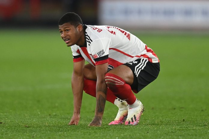 SHEFFIELD, ENGLAND - APRIL 24: Rhian Brewster of Sheffield United reacts during the Premier League match between Sheffield United and Brighton & Hove Albion at Bramall Lane on April 24, 2021 in Sheffield, England.