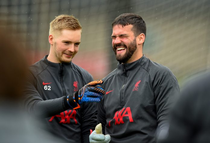 KIRKBY, ENGLAND - MAY 21: (THE SUN OUT, THE SUN ON SUNDAY OUT) Alisson Becker and Caoimhin Kelleher of Liverpool during a training session at AXA Training Centre on May 21, 2021 in Kirkby, England.