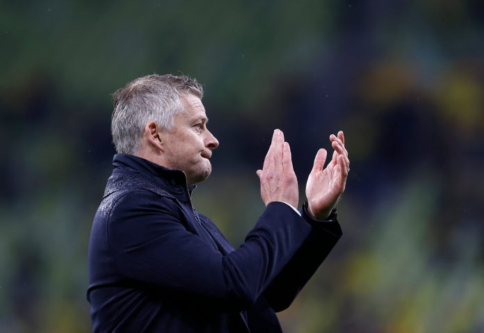 GDANSK, POLAND - MAY 26: Ole Gunnar Solskjaer, Manager of Manchester United looks dejected as he acknowledges the fans following the UEFA Europa League Final between Villarreal CF and Manchester United at Gdansk Arena on May 26, 2021 in Gdansk, Poland.