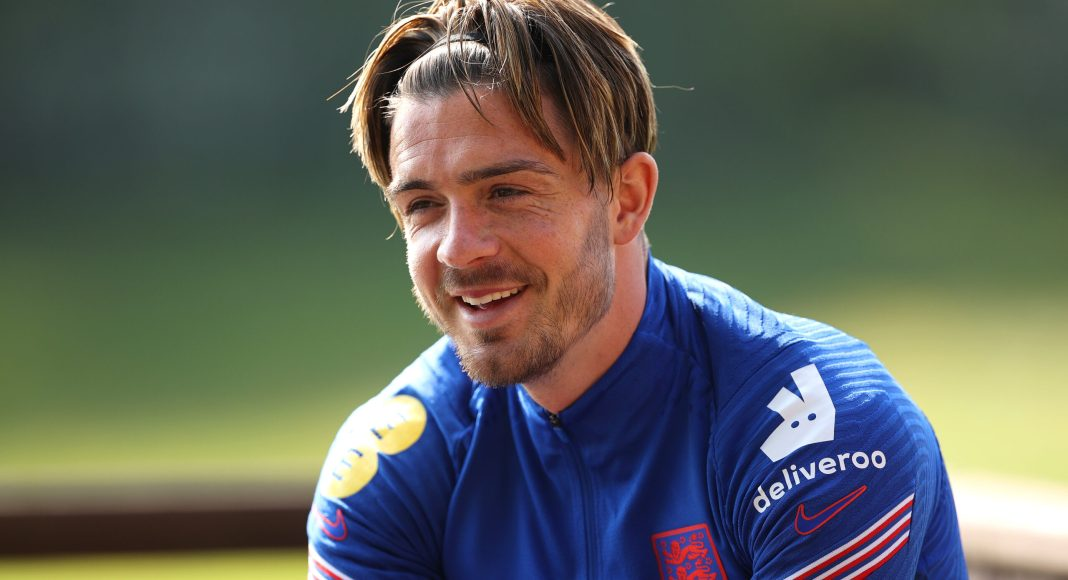 MIDDLESBROUGH, ENGLAND - JUNE 03: Jack Grealish of England looks on during a interview on June 03, 2021 in Middlesbrough, England.