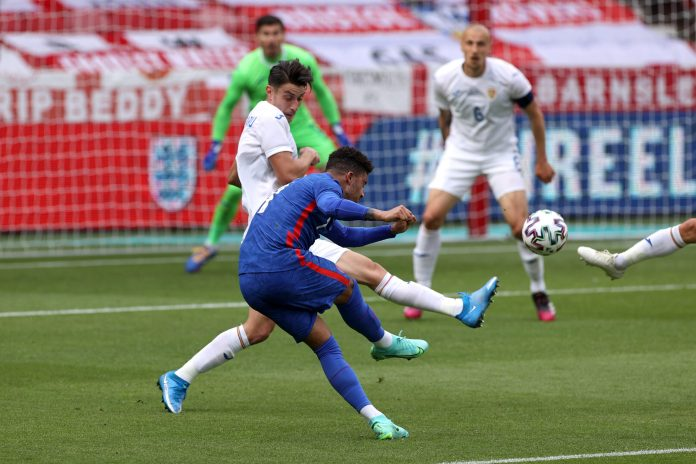 MIDDLESBROUGH, ENGLAND - JUNE 06: Jadon Sancho of England shoots during the international friendly match between England and Romania at Riverside Stadium on June 06, 2021 in Middlesbrough, England.