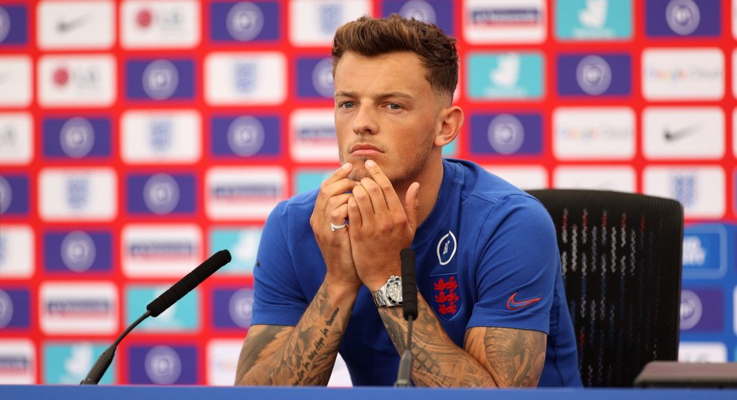 BURTON UPON TRENT, ENGLAND - JUNE 08: Ben White of England talks to the media at St George's Park on June 08, 2021 in Burton upon Trent, England.