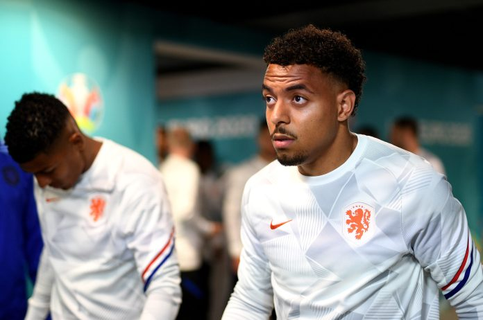 AMSTERDAM, NETHERLANDS - JUNE 21: Donyell Malen of Netherlands looks on as he walks out to warm up prior to the UEFA Euro 2020 Championship Group C match between North Macedonia and The Netherlands at Johan Cruijff Arena on June 21, 2021 in Amsterdam, Netherlands.