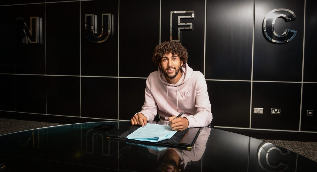 NEWCASTLE UPON TYNE, ENGLAND - JUNE 25: Remi Savage poses for Photographs after signing for Newcastle United at St.James' Park on June 25, 2021 in Newcastle upon Tyne, England.