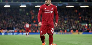 LIVERPOOL, ENGLAND - MAY 07: Liverpool's Xherdan Shaqiriduring the UEFA Champions League Semi Final second leg match between Liverpool and Barcelona at Anfield on May 7, 2019 in Liverpool, England.
