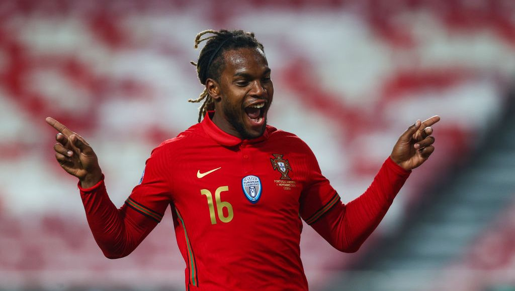 LISBON, PORTUGAL - NOVEMBER 11: Renato Sanches of Portugal and Lille celebrates scoring Portugal third goal during the international friendly match between Portugal and Andorra at Estadio da Luz on November 11, 2020 in Lisbon, Portugal. (Photo by Carlos Rodrigues/Getty Images)
