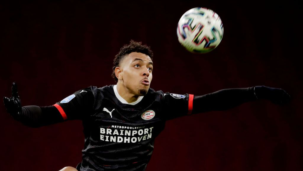 AMSTERDAM, NETHERLANDS - JANUARY 10: Donyell Malen of PSV during the Dutch Eredivisie match between Ajax v PSV at the Johan Cruijff Arena on January 10, 2021 in Amsterdam Netherlands. (Photo by Laurens Lindhout/Soccrates/Getty Images)