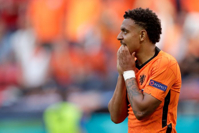 BUDAPEST, HUNGARY - JUNE 27: Donyell Malen of Holland during the EURO match between Holland v Czech Republic at the Puskas Arena on June 27, 2021 in Budapest Hungary.