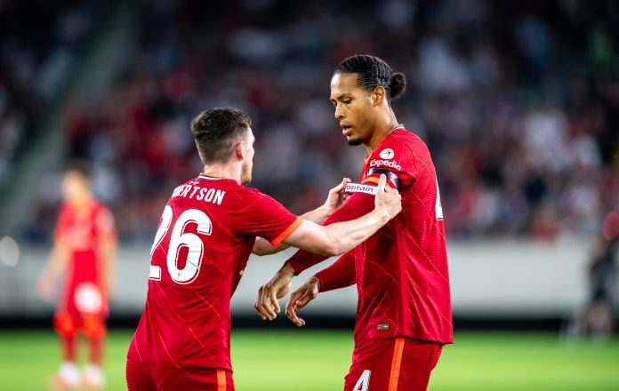 INNSBRUCK, AUSTRIA - JULY 29: Andy Robertson and Virgil van Dijk of FC Liverpool during the friendly match between Hertha BSC and FC Liverpool at Tivoli Stadion on July 29, 2021 in Innsbruck, Austria. (Photo by Jan-Philipp Burmann/City-Press via Getty Images)