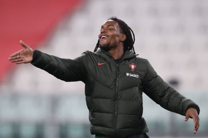 TURIN, ITALY - MARCH 24: Renato Sanches of Portugal reacts as he warms up during the half time interval of the FIFA World Cup 2022 Qatar qualifying match between Portugal and Azerbaijan at Allianz Stadium on March 24, 2021 in Turin, Italy.