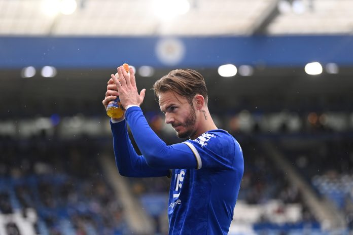 LEICESTER, ENGLAND - MAY 23: James Maddison of Leicester City walks from the field after being substituted during the Premier League match between Leicester City and Tottenham Hotspur at The King Power Stadium on May 23, 2021 in Leicester, England.