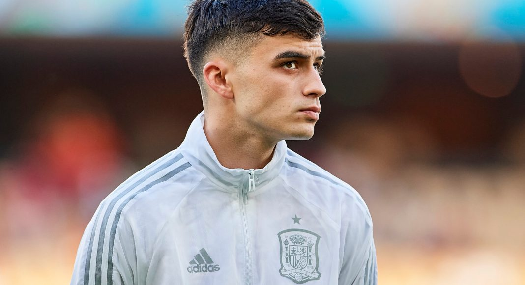 SEVILLE, SPAIN - JUNE 19: Pedri of Spain looks on during the UEFA Euro 2020 Championship Group E match between Spain and Poland at Estadio La Cartuja on June 19, 2021 in Seville, Spain.