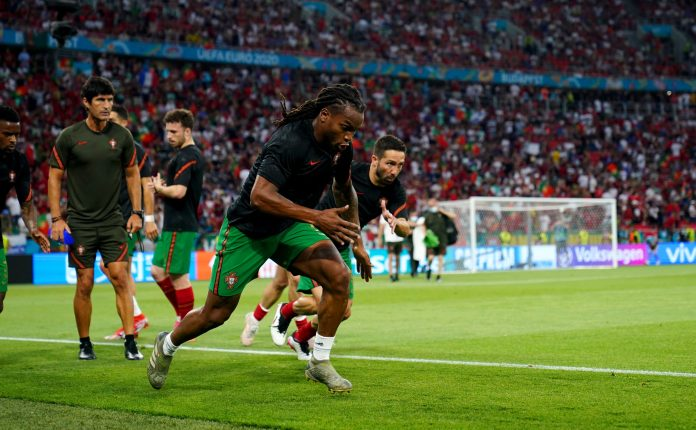 BUDAPEST, HUNGARY - JUNE 23: Renato Sanches of Portugal warms up prior to during the UEFA Euro 2020 Championship Group F match between Portugal and France at Puskas Arena on June 23, 2021 in Budapest, Hungary.