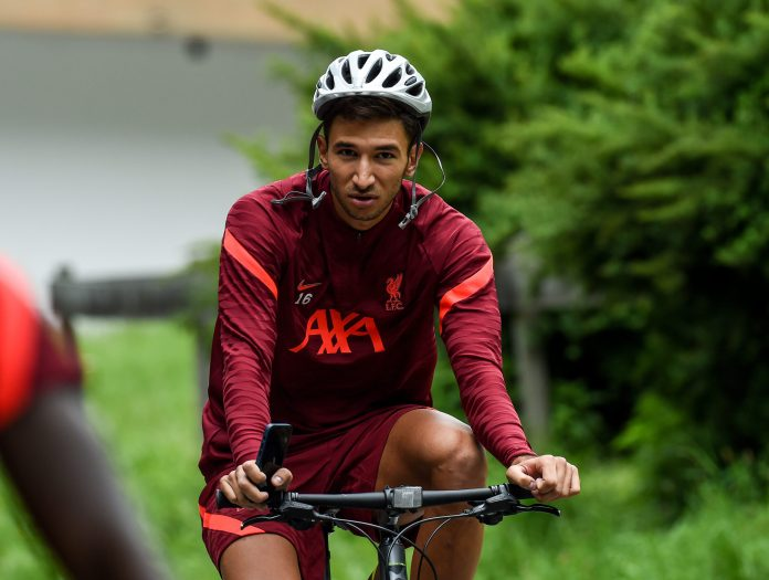 UNSPECIFIED, AUSTRIA - JULY 14: Marko Grujic of Liverpool ride to and from training on July 14, 2021 in UNSPECIFIED, Austria. (Photo by John Powell/Liverpool FC via Getty Images)