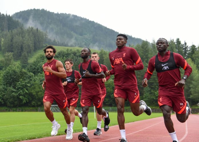 UNSPECIFIED, AUSTRIA - JULY 17:(THE SUN OUT, THE SUN ON SUNDAY OUT) Mohamed Salah, Leighton Clarkson, Naby Keita,Ben Woodburn, Taiwo Awoniyi and Sadio Mane of Liverpool during a training session on July 17, 2021 in UNSPECIFIED, Austria. (Photo by John Powell/Liverpool FC via Getty Images)