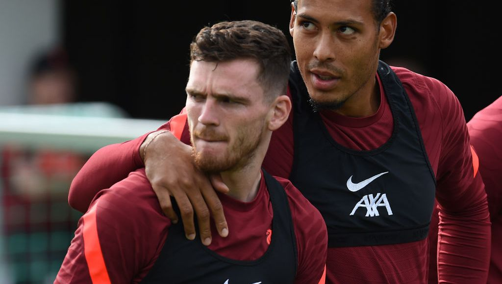 UNSPECIFIED, AUSTRIA - JULY 25: (THE SUN OUT. THE SUN ON SUNDAY OUT) Andy Robertson of Liverpool with Virgil van Dijk of Liverpool during a training session on July 25, 2021 in UNSPECIFIED, Austria. (Photo by John Powell/Liverpool FC via Getty Images)