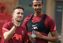 UNSPECIFIED, AUSTRIA - JULY 25: (THE SUN OUT. THE SUN ON SUNDAY OUT) Diogo Jota of Liverpool with Joel Matip of Liverpool during a training session on July 25, 2021 in UNSPECIFIED, Austria. (Photo by John Powell/Liverpool FC via Getty Images)