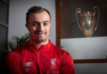 Liverpool footballer Xherdan Shaqiri, pictured at the club's Melwood training centre. The Swiss international player was transferred from Stoke City to Liverpool prior to the 2018-19 season. Born in Kosovo in 1991, he has represented Switzerland at three FIFA World Cups as well as being a Champions League `winner with Germany's Bayern Munich.