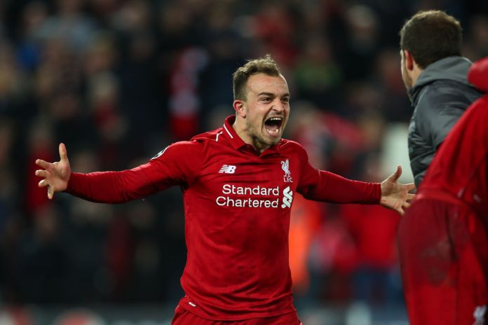 LIVERPOOL, ENGLAND - MAY 07: Xherdan Shaqiri of Liverpool celebrates at full time during the UEFA Champions League Semi Final second leg match between Liverpool and Barcelona at Anfield on May 7, 2019 in Liverpool, England. (Photo by Robbie Jay Barratt - AMA/Getty Images)