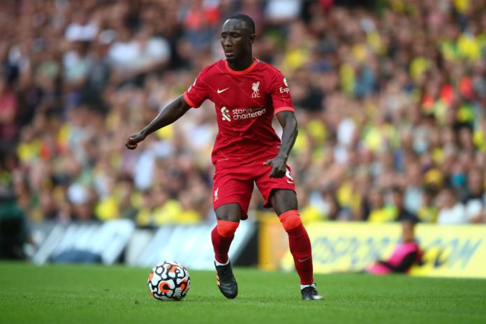 NORWICH, ENGLAND - AUGUST 14: Naby Keita of Liverpool during the Premier League match between Norwich City and Liverpool at Carrow Road on August 14, 2021 in Norwich, England. (Photo by Marc Atkins/Getty Images)