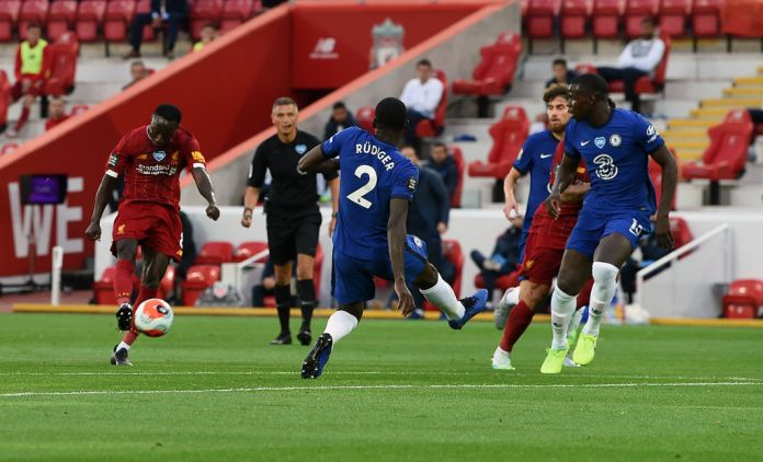 LIVERPOOL, ENGLAND - JULY 22: (THE SUN ON SUNDAY OUT) Naby Keita of Liverpool scores the opening goal during the Premier League match between Liverpool FC and Chelsea FC at Anfield on July 22, 2020 in Liverpool, England. (THE SUN ON SUNDAY OUT) (Photo by John Powell/Liverpool FC via Getty Images)