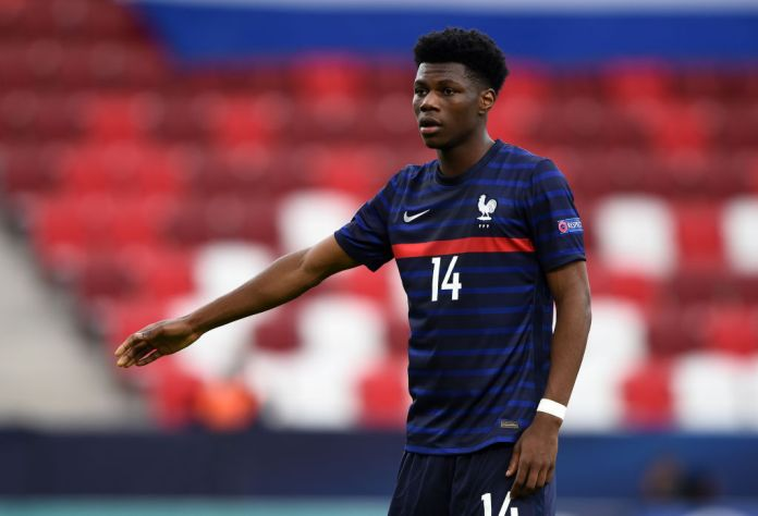BUDAPEST, HUNGARY - MAY 31: Aurelien Tchouameni of France during the 2021 UEFA European Under-21 Championship Quarter-finals match between Netherlands and France at Bozsik Stadion on May 31, 2021 in Budapest, Hungary. (Photo by Chris Ricco - UEFA/UEFA via Getty Images)