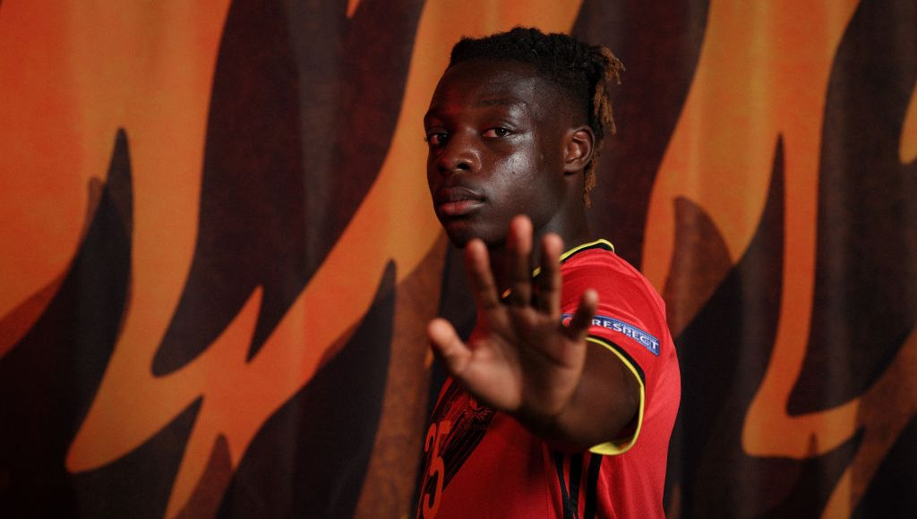 TUBIZE, BELGIUM - JUNE 08: Jeremy Doku of Belgium poses during the official UEFA Euro 2020 media access day on June 08, 2021 in Tubize, Belgium. (Photo by Simon Hofmann - UEFA/UEFA via Getty Images)
