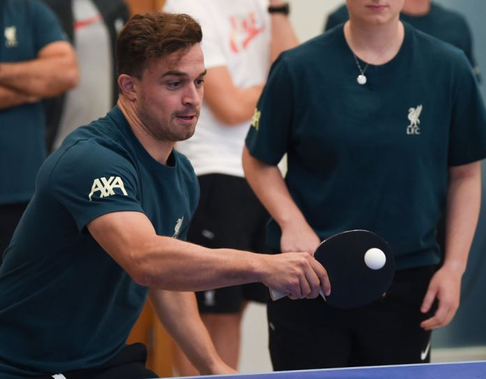 EVIAN-LES-BAINS, FRANCE - AUGUST 06: (THE SUN OUT. THE SUN ON SUNDAY OUT) Xherdan Shaqiri of Liverpool during a Table Tennis Tournament at Their Pre-Season Training Camp on August 06, 2021 in Evian-les-Bains, France. (Photo by John Powell/Liverpool FC via Getty Images)