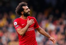Soccer Football - Premier League - Watford v Liverpool - Vicarage Road, Watford, Britain - October 16, 2021 Liverpool's Mohamed Salah celebrates scoring their fourth goal Action Images via Reuters/Andrew Couldridge