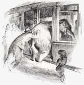 Tuffi siendo cargada en el tren
