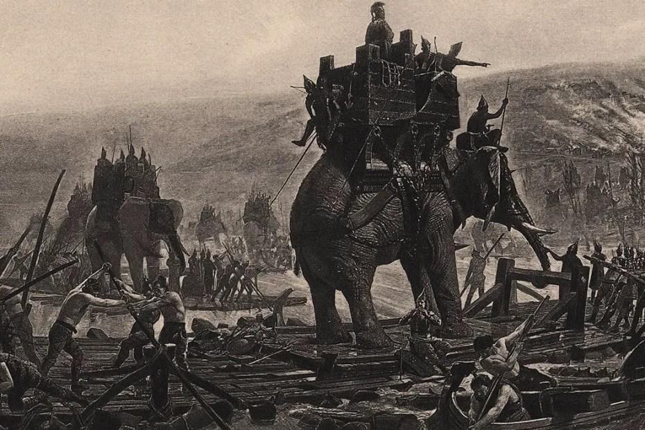 Ilustración de elefantes de guerra.