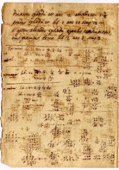 Imagen de una hoja con los cálculos de Cálculos de Grienberg.