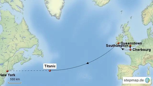 Infografía mostrando el trayecto del RMS Titanic.