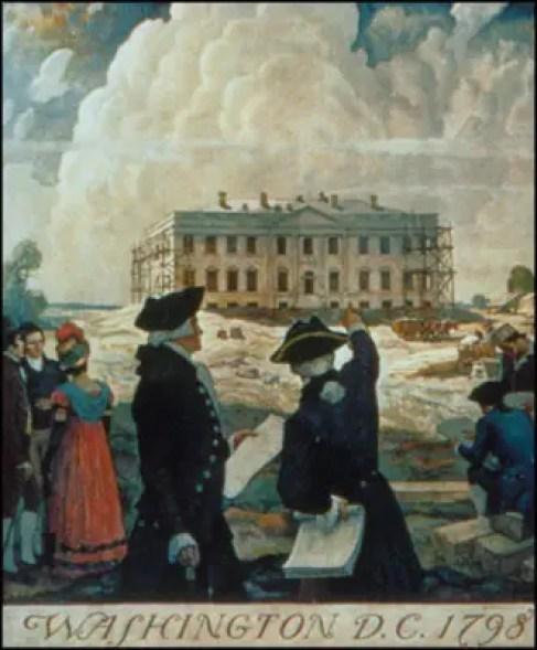 Ilustraciónj e la construcción de la Casa Blanca.