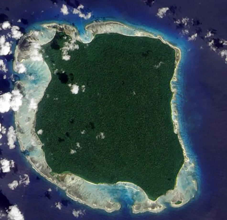 Vista aérea de la Isla Sentinel norte. La isla de los sentineleses.