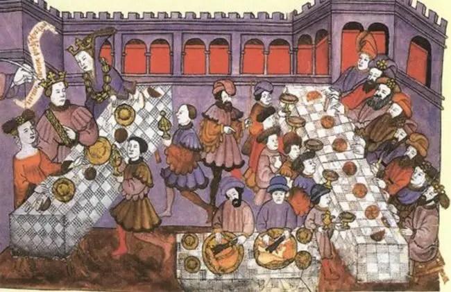Ilustración antigua de un banquete renacentista.