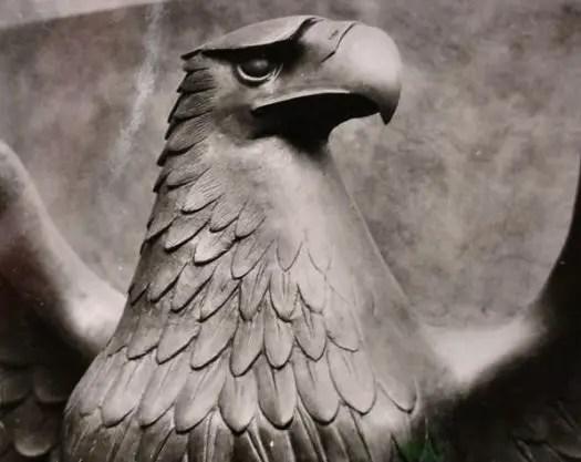 Fotografía macro del águila del pabellón alemán.