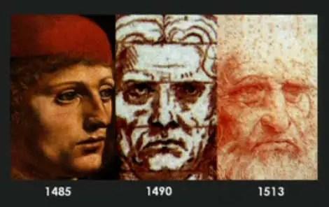 Autoretratos del renacentista Leonardo da Vinci.