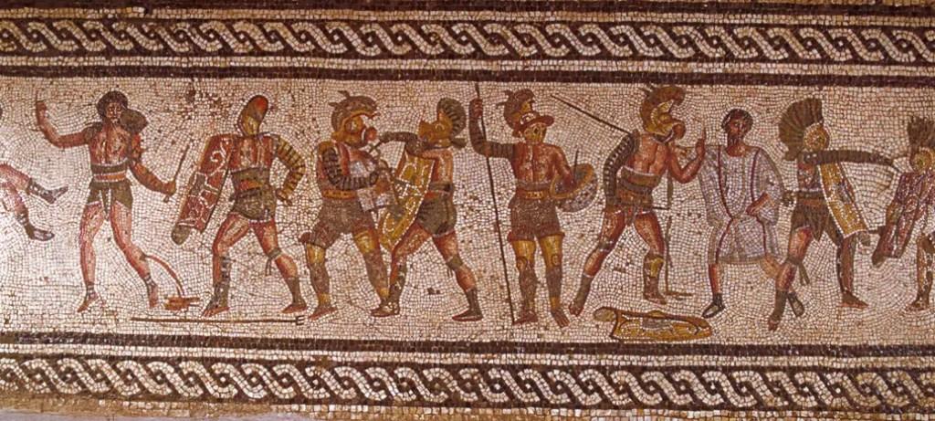 Fotografía de un mosaico romano sobre gladiadores.