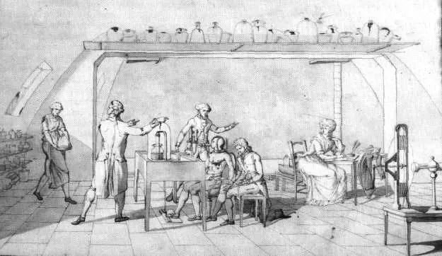 Ilustración del laboratorio de Lavoisier.