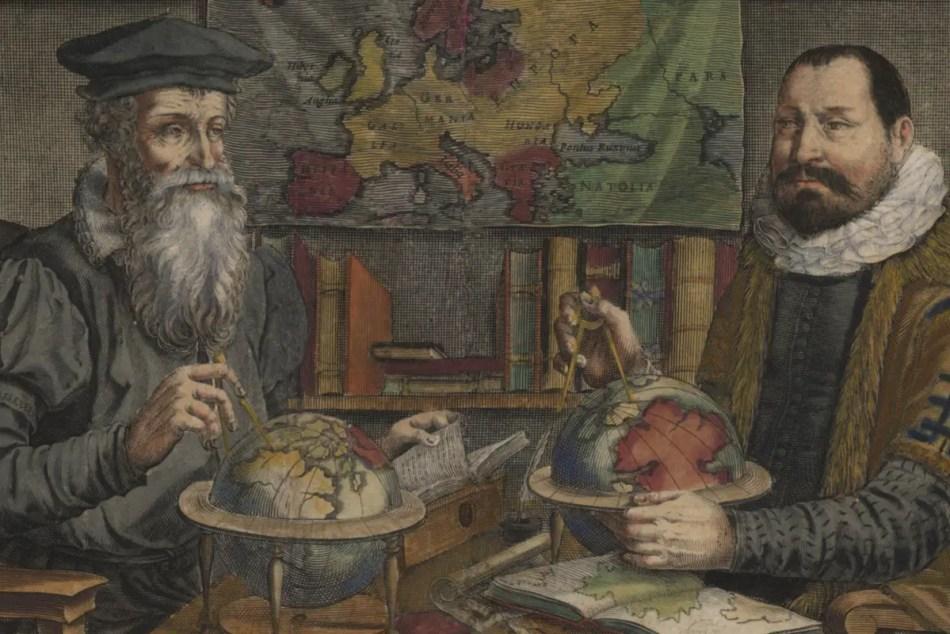 Ilustración de dos cartógrafos renacentista.