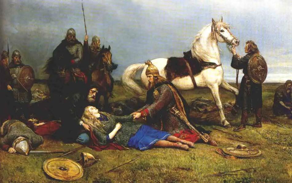 Pintura de la muerte de Hervor.