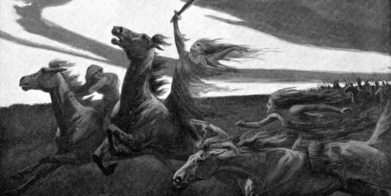 Ilustración de un grup de valquirias a caballo.