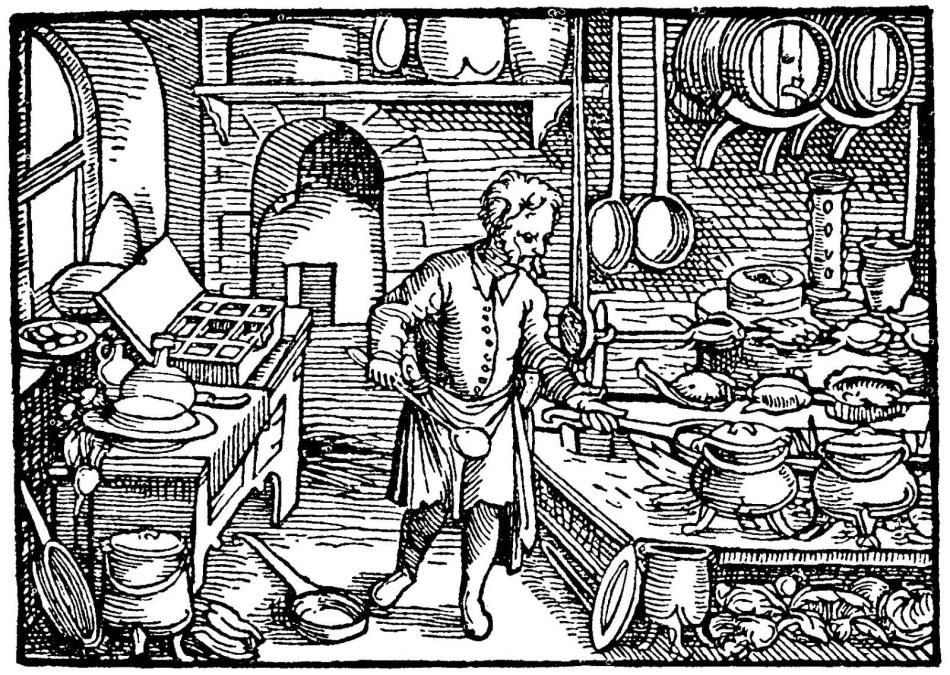 Grabado medieval sobre cocina.