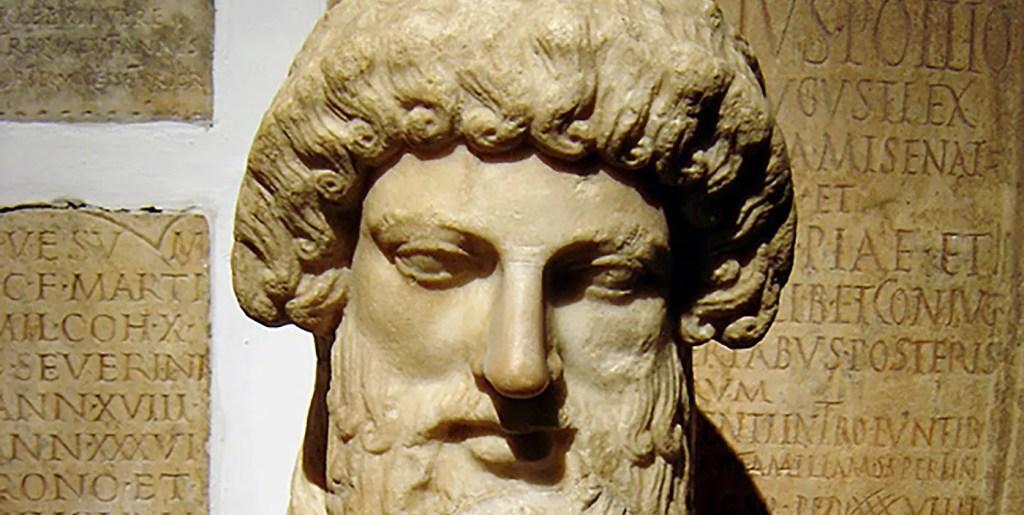 Fotografía de la cara de la herma de Platón.